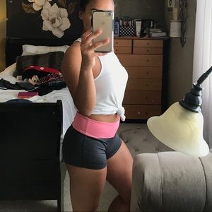 Pink and grey athletic shorts